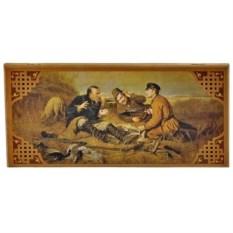 Малые нарды в деревянном коробе Охотники на привале