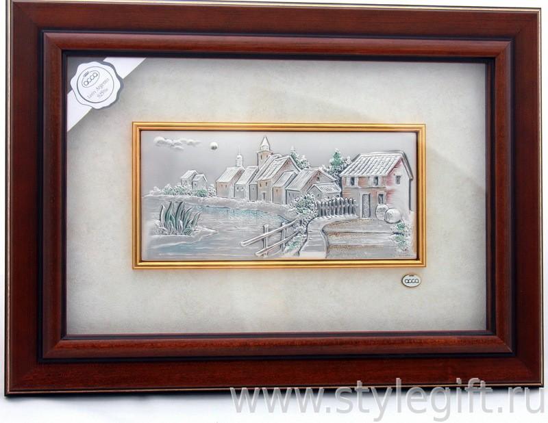 Картина Поселок у пруда