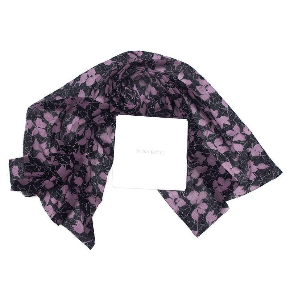 Шерстяной палантин для женщин с цветочками Nina Ricci