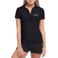 Черная женская футболка-поло Не прислоняться