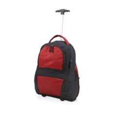 Красный рюкзак на колесиках с выдвижной ручкой
