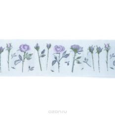 Тесьма декоративная Розы, цвет: серый, фиолетовый,