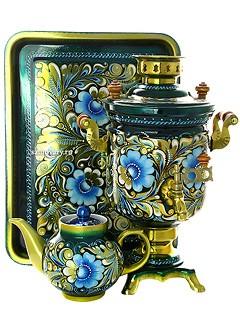 Самовар электрический с росписью Кружево, поднос и чайник