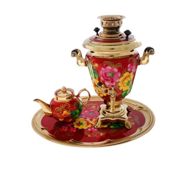 Набор из самовара и чайника Цветы на красном