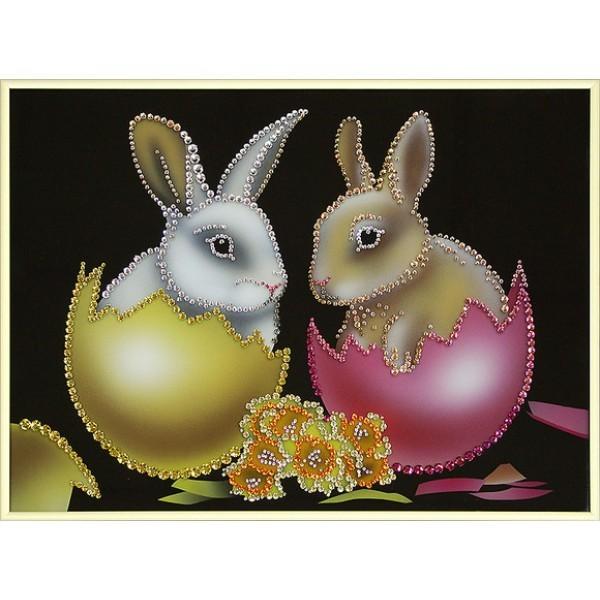 Картина Swarovski Пасхальные кролики