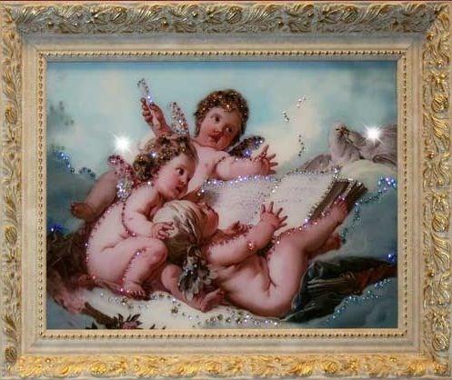 Картина из кристаллов Swarovski Небесные ангелы