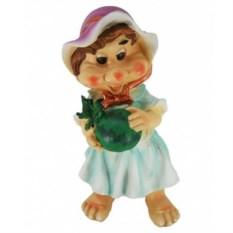 Садовая фигура Гном-девочка с арбузом