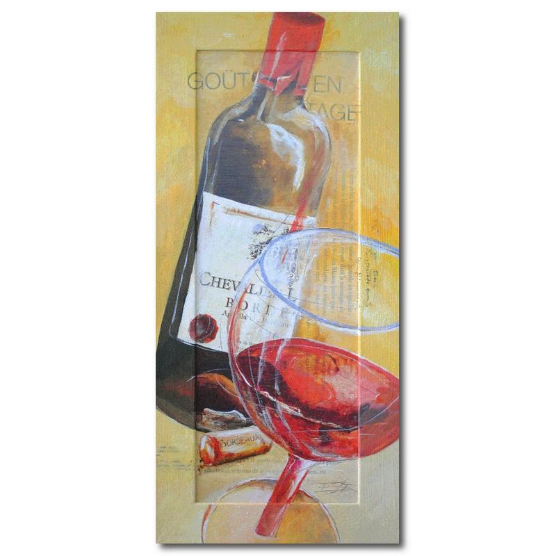 Репродукция с подрисовкой на раме Кухня, бутылка и бокал