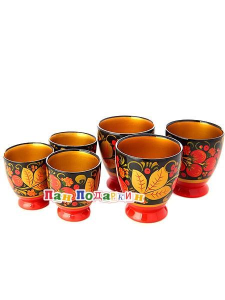 Деревянный набор бокалов из 6 предметов Хохлома