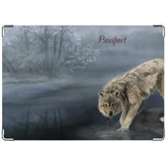 Обложка на паспорт Волк в лесу