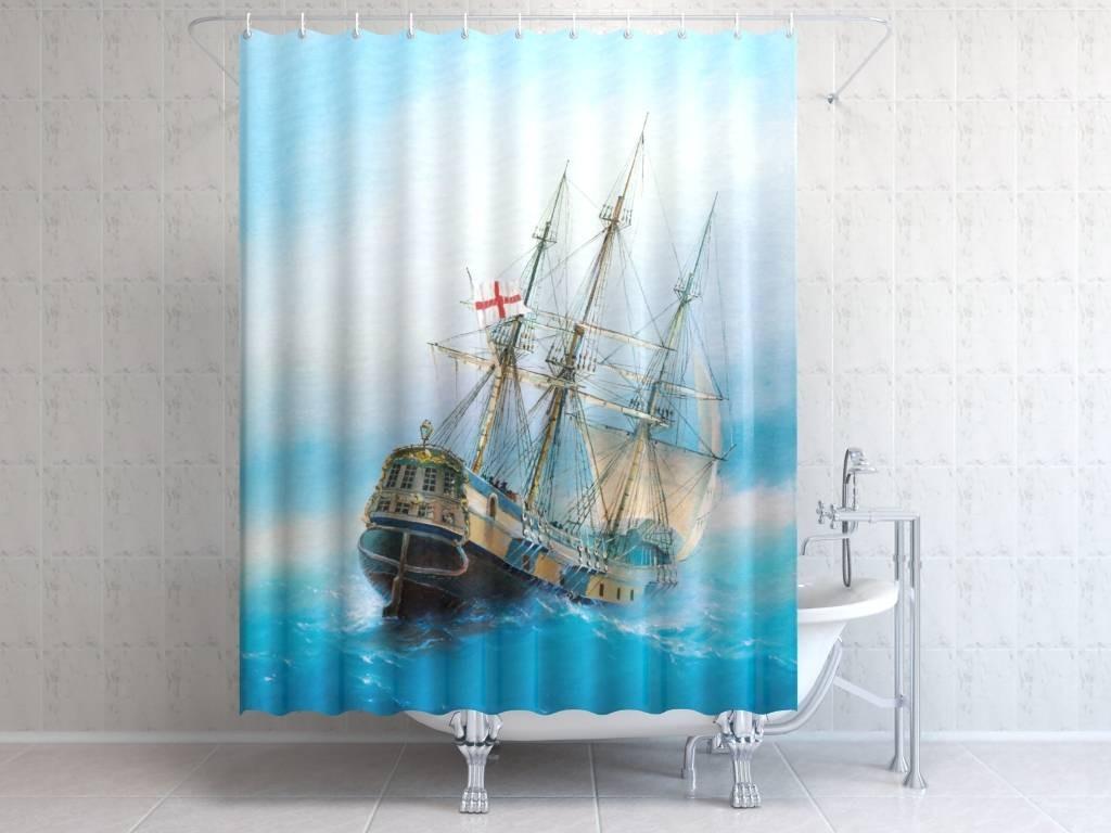 Фотоштора для ванной Английский парусник