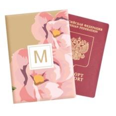 Именная обложка для паспорта «Розовые цветы»