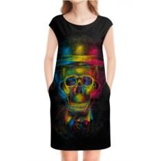 Платье без рукавов Разноцветный череп