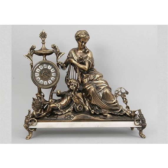 Часы бронзовые каминные Дама с арфой