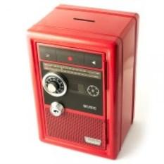 Красная копилка сейф с ключом Рекордер
