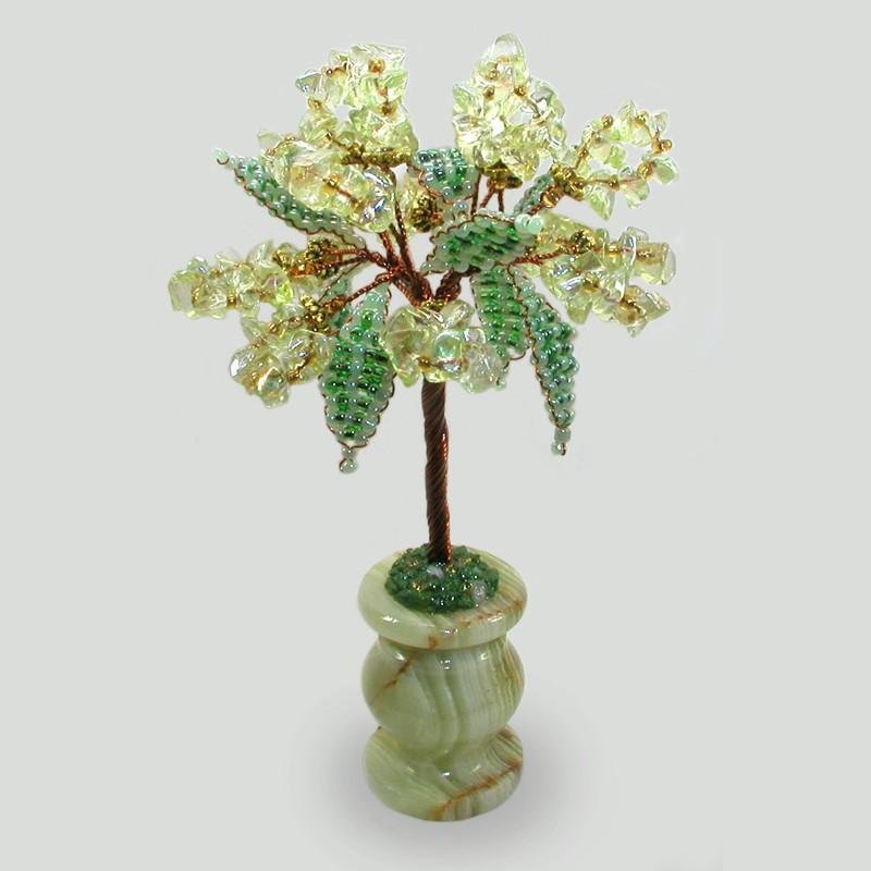 Дерево силы из хризолита в вазочке из оникса