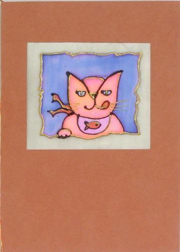 Открытка ручной работы с конвертом Кот