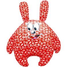 Красная подушка-игрушка Зацелованный зайчик