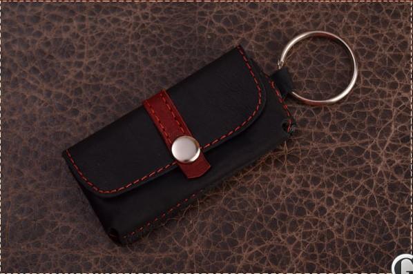 Брелок для ключей. Коллекция Magistro (Черно-красный; тип 1; нат. кожа)