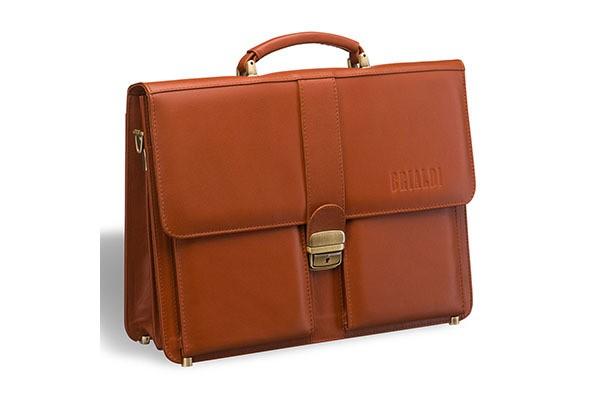 Классический коричнево-рыжий портфель Brialdi Bari