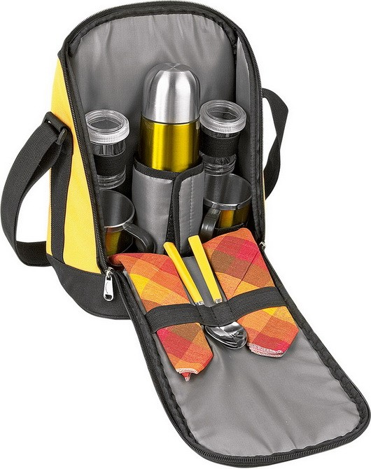 Набор для пикника чёрный с жёлтыми вставками