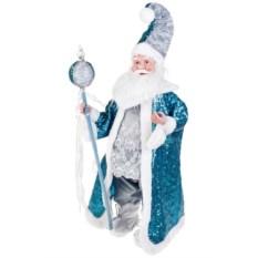 Бело-голубое новогоднее музыкальное украшение Дед Мороз