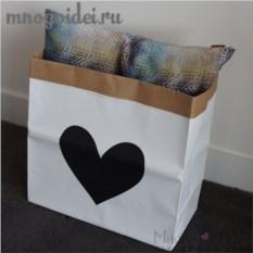 Эко-мешок для игрушек из крафт бумаги Влюбленное сердце