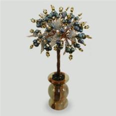 Дерево страсти из черного жемчуга в вазочке из оникса