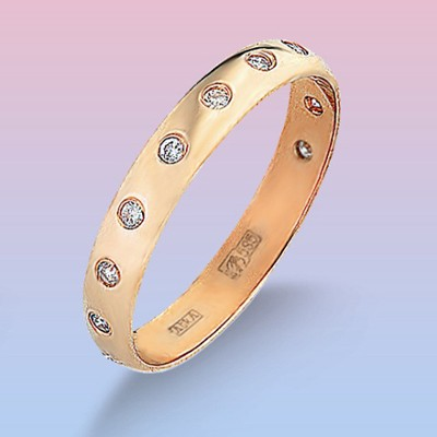 Обручальное кольцо из красного золота с 11 брилл.