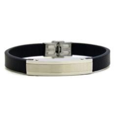 Кожаный браслет с серебристой пластиной
