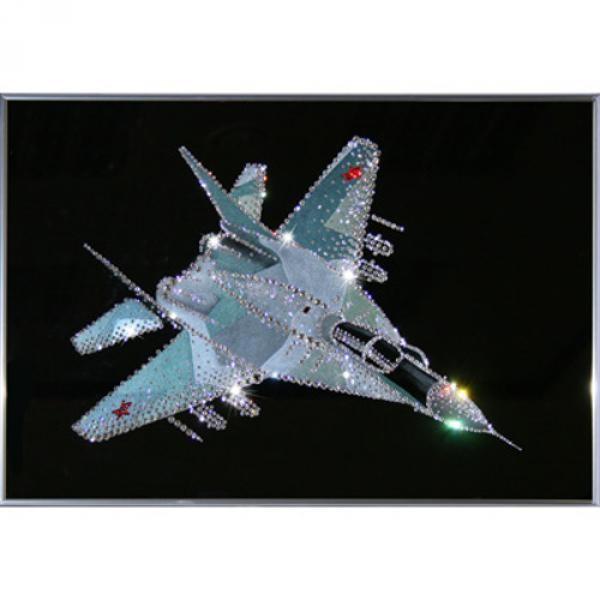 Картина с кристаллами Swarovski Военный истребитель
