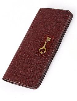 Женский кожаный кошелек с декором в виде ключа