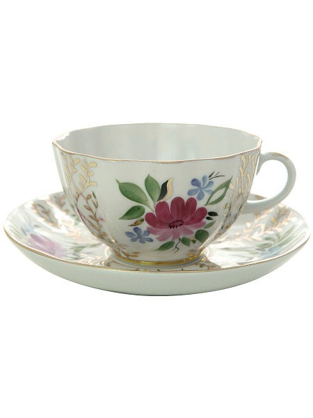 Чайная чашка с блюдцем Золотые травки