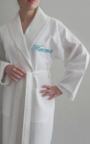 Вафельный хлопковый халат с именной вышивкой