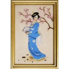 Картина с кристаллами Swarovski Японка в голубом