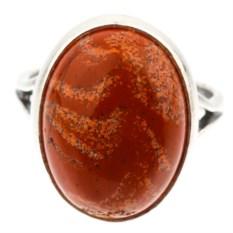 Кольцо из мельхиора в посеребрении с красной яшмой Дарсия