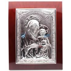 Икона Божией Матери с посеребрением