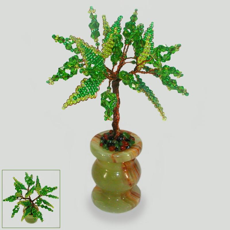 Миниатюрное дерево желаний из хризолита в вазочке из оникса