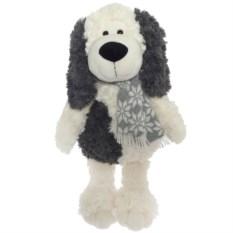 Бело-серая мягкая игрушка Собака в вязаном шарфе (42 см)