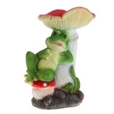 Декоративная садовая фигура Лягуха отдыхает под мухомором