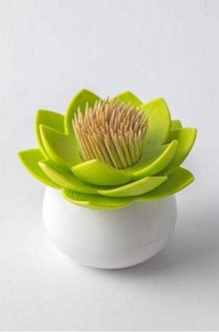 Бело-зеленый держатель для зубочисток Lotus