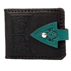 Кожаный черный кошелек с карманом для мелочи
