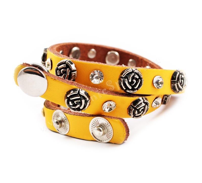 Кожаный браслет Жёлтая роза Swarovski