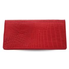 Женское красное портмоне из кожи бокового отдела крокодила