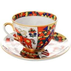 Чашка с блюдцем Народные узоры (фарфор)