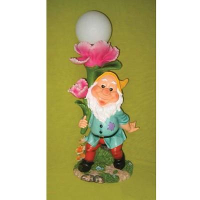 Садовая лампа «Гном и розовый цветок»