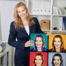 Женский Поп-арт портрет по фото на холсте или 3D светильнике