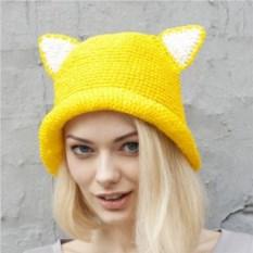 Желтая летняя шляпа с ушками из рафии