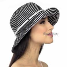 Пляжная черная шляпа в полоску от Del Mare