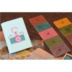 Горизонтальный кардхолдер-книжка из кожи Фотоаппарат